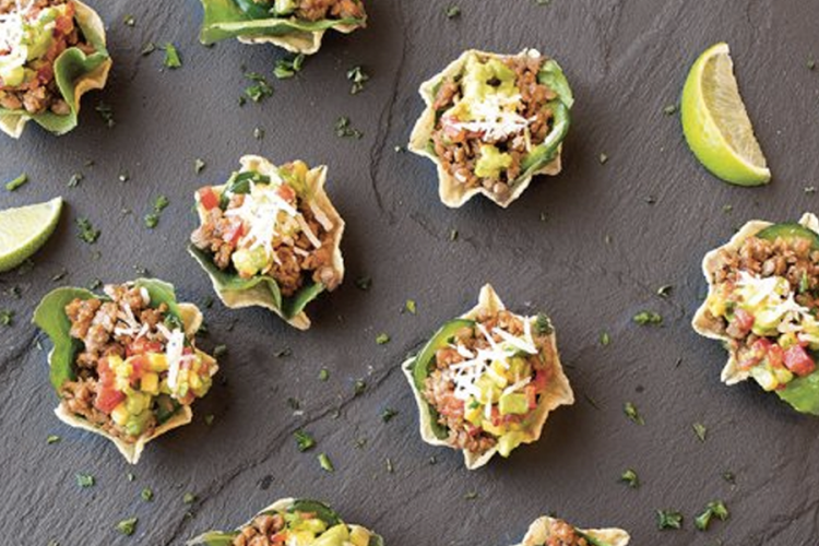 Mini beefless taco cups